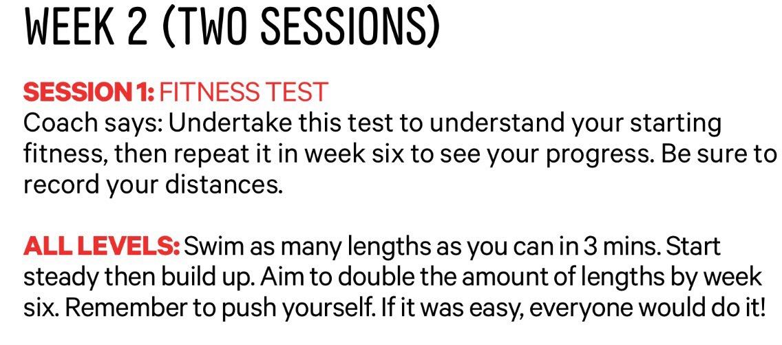 Get Speedo Fit week 2 fitness test